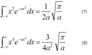 ガウス積分2,4次のモーメント